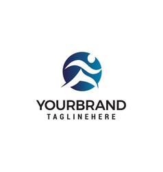 People run abstract logo design concept template vector