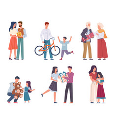 people with gifts happy persons give and vector image