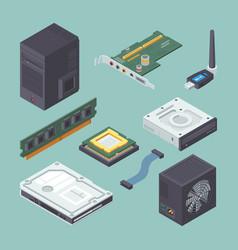 Personal equipment computer isometric set black vector
