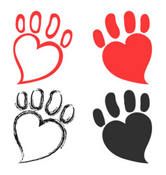 Pet paw hearts design vector