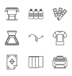 Printing services icons set outline style vector image
