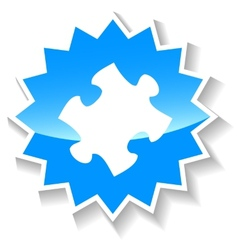 Puzzle blue icon vector