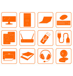 Red goods icons of computer online store vector