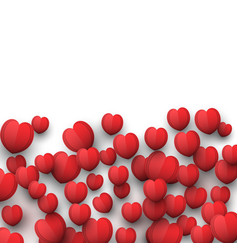 red valentines day background with 3d heart shapes vector image