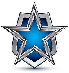 Renown silver emblem with pentagonal star 3d vector