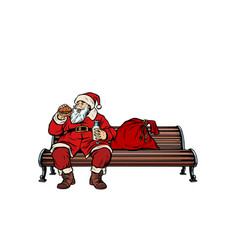 santa claus eats fast food burger park bench vector image