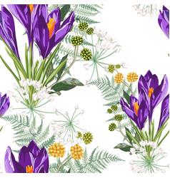 Seamless floral violet crocus flowers vector