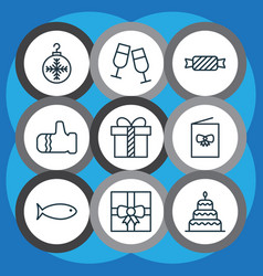 set of 9 holiday icons includes mitten vector image