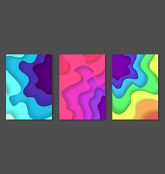 set of abstract multicolor paper cut backgrounds vector image