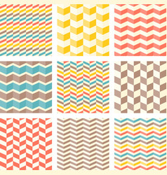 set of chevron and zigzag seamless pattern vector image