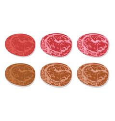 set of detailed slide fresh ham and grilled salami vector image