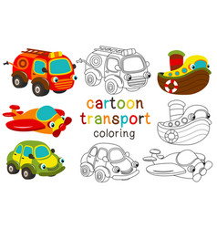 Set of isolated cartoon transport with eyes part 1 vector