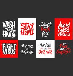 Set quarantine hand drawn unique typography vector