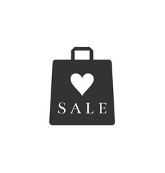 shopping bag shop love like heart symbol with an vector image