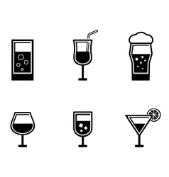 six glasses icons vector image