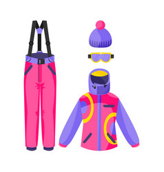 Skiing snowboarding outfit - jacket pants vector