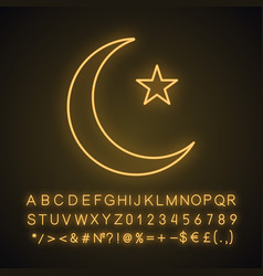 Star and crescent moon neon light icon vector