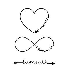 summer - word with infinity symbol hand drawn vector image