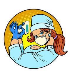Super hero nurse with remote thermometer vector