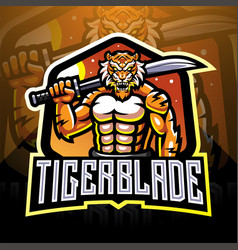 Tiger with blade esport mascot logo vector