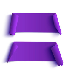 Two curved purple banners vector