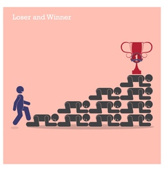 Winner walk over stairs of loser concept vector image