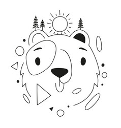 with bear head pine trees sun and abstract vector image