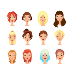Young girls faces flat set vector