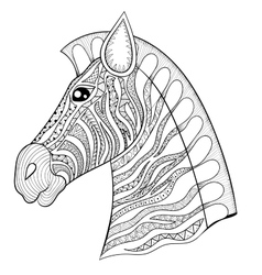 zentangle Zebra Head Horse vector image
