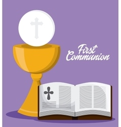 Bible book cross cup icon graphic vector