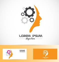 Human head gear idea concept logo vector image