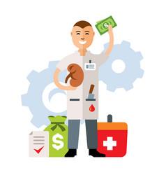 organ transplantation flat style colorful vector image vector image