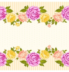 Rose frame invitation card vector image vector image