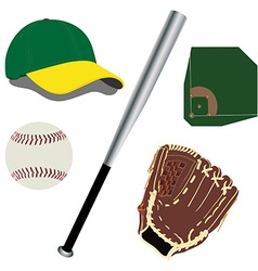 Baseball field ball glove hat and bat vector image