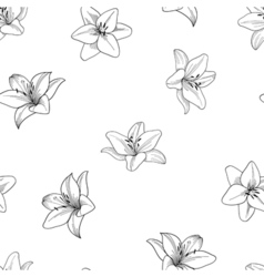 Black and white seamless pattern with lily vector image vector image