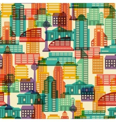 Cityscape seamless pattern with buildings vector image vector image