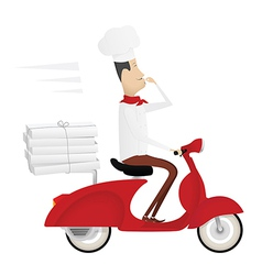 Funny italian chef delivering pizza vector image