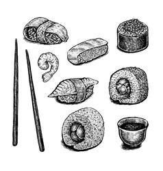Set of hand drawn ink sushi vector image vector image