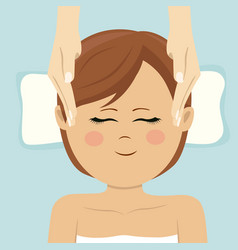 young woman having head massage in spa top view vector image vector image