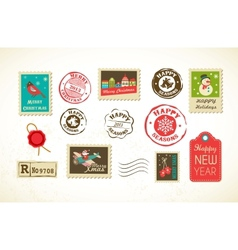 Christmas set of vintage postage stamps vector image