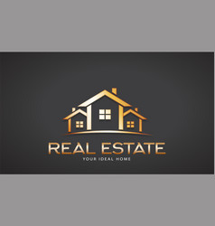 gold real estate houses logo design vector image vector image