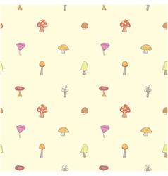 Seamless of mushrooms set vector image