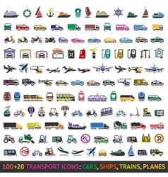 100 AND 20 Transport colored icons vector image