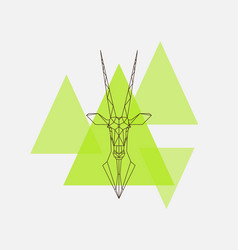 antelope oryx head geometric lines silhouette vector image vector image