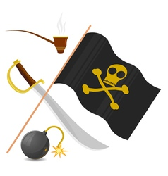 collection of pirate attributes vector image vector image