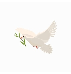 Dove with olive branch icon cartoon style vector image vector image