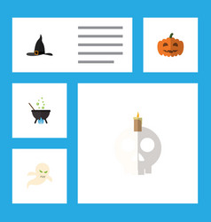 flat icon halloween set of magic cranium witch vector image vector image