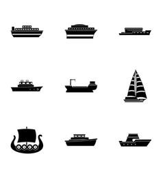 motorship icons set simple style vector image
