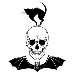 skull cat and bat vector image