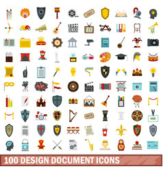 100 design document icons set flat style vector image